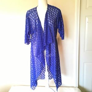 LULAROE S Lindsey lace kimono/Coverup Made in USA